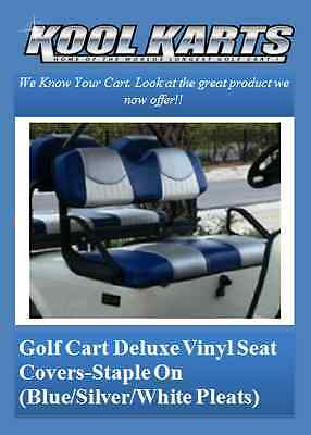 EZ-GO TXT Rear Flip Seat & Custom Deluxe Seat Cover Combo Pkg(Tri-Clr w/Pleats)