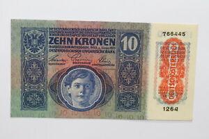 AUSTRIA-10-KORONA-1915-AU-UNC-ONLY-SMALL-DIRT-ON-BOTTOM-B27-BLEI-49