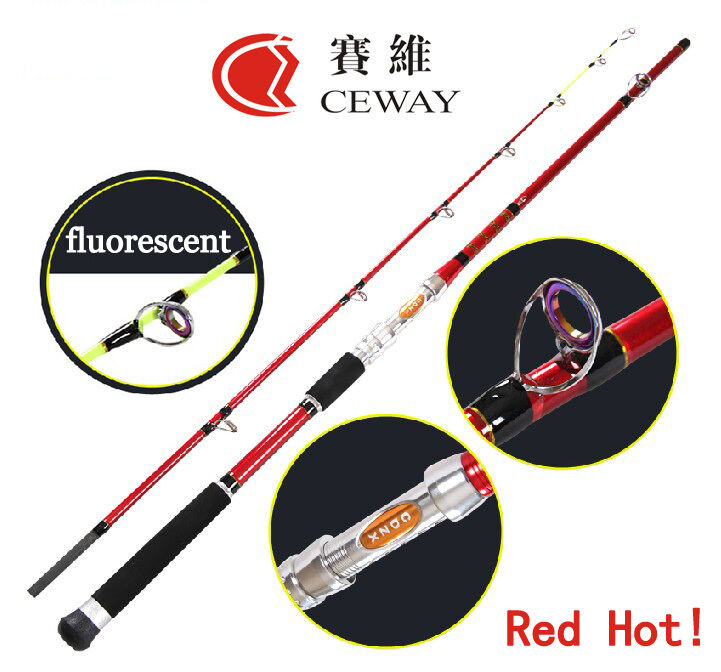Carbon Fishing Rods Red Boat Rod Powerful Fish Ocean Pole Deep Sea Jig Poles New