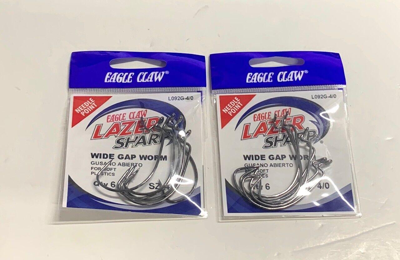 Eagle Claw L092gk-4//0 Lazer Sharp Wide Gap Worm Hook Size 4//0 6ct 17336 for sale online