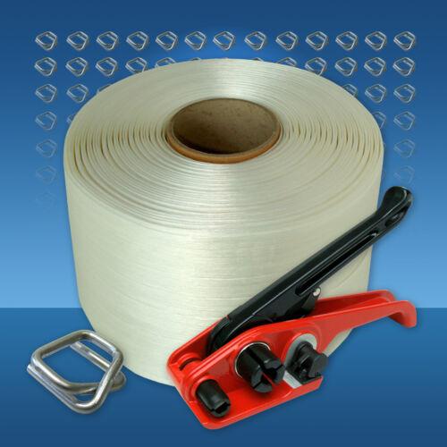 340 m Umreifungsband 16 mm Textilband Umreifungsset 200 Klemmen Bündelgerät