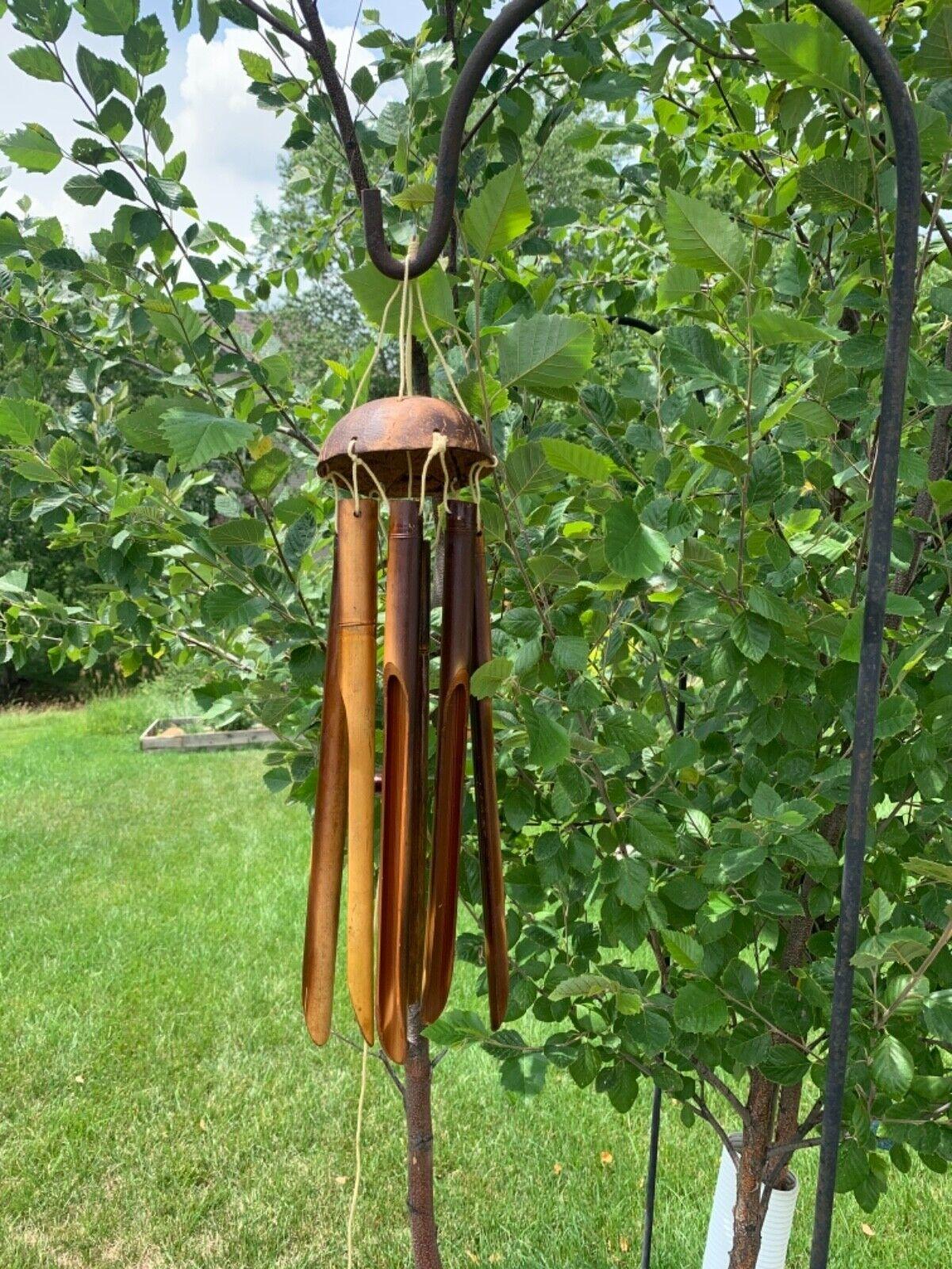Handmade Bamboo Wind Chimes Outdoors & Indoors, Deep tunes - 6 Bamboo Tube