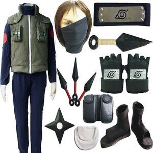 Naruto Hatake Kakashi Deluxe Cosplay Costume Mens Ninja Full Set Props Shoes