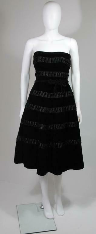 HARVEY BERIN 1960s Velvet and Satin Cocktail Dres… - image 2