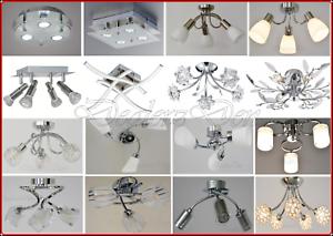 Modern-Ceiling-Lights-Chrome-Glass-Lamp-Shade-Chandelier-Flush-Fitting-Lighting