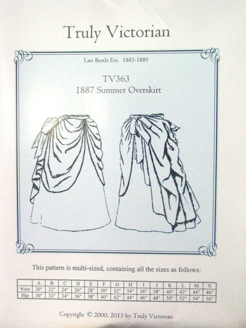 Truly Victorian Sewing Pattern TV363 for 1887 Old West Summer ...