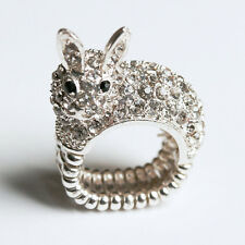 QUIRKY CUTE SILVER CRYSTAL PAVE BUNNY RABBIT COCKTAIL STATEMENT RING