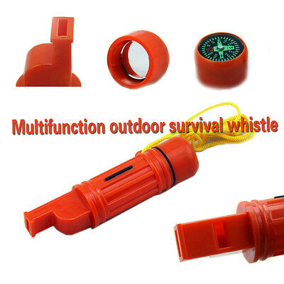 Survival Kit Scout Whistle/Compass/Mirror/Flint/Waterproof Pill Box 5 in 1 Tool