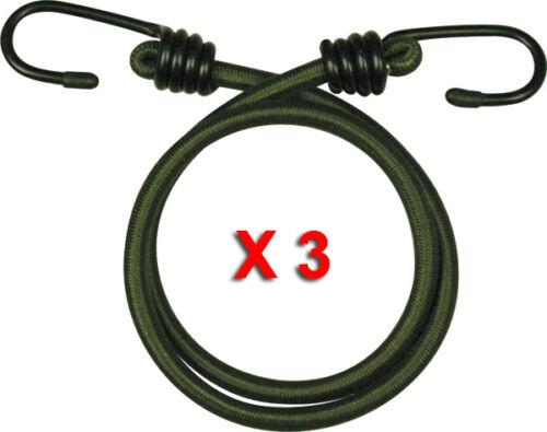 "3 Pack 18 /""inch cordon élastique 45cm bungees cordons cordon Heavy Duty Corde Olive"
