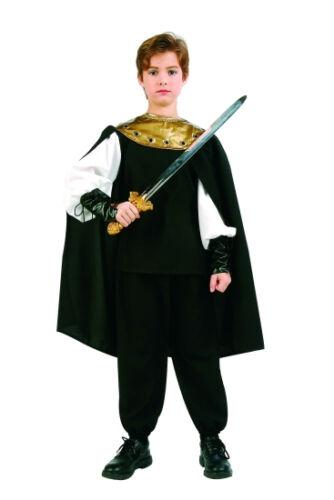 RENAISSANCE KNIGHT CHILD MEDIEVAL PRINCE WARRIOR BOY KIDS COSTUME W// CAPE BLACK
