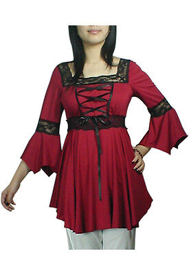 Plus Size Red Lacing Up Corset Renaissance Medieval Lace Blouse XL 1X 2X 3X 4X
