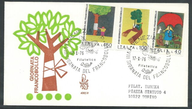 1976 ITALIA FDC VENETIA 420 GIORNATA DEL FRANCOBOLLO TIMBRO ARRIVO - SZ4