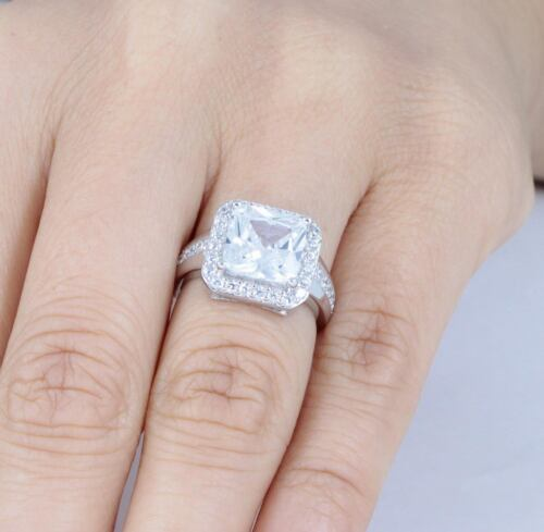 4Ct Princess 925 Sterling Silver CZ Engagement Ring Wedding Band Size 3-14 SR638