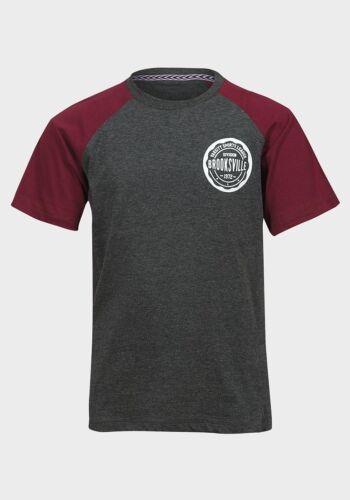 Ragazzi Grigio T-shirt Brooksville Manica Corta Età 8-13 GRATIS P P