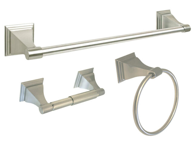"""Brushed Nickel Bathroom Accessories 3PC Combo 18/"""" Towel Bar Ring Toilet Holder"""