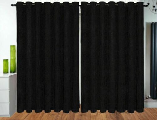 Curtains Eyelet Ring Top Ready Made fully Lined Designer Chenille Curtains Black
