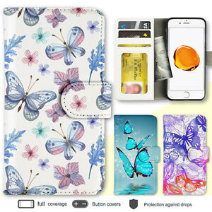 iPhone-8-7-Plus-6s-6-SE-4-X-Case-Butterfly-Print-Wallet-Leather-Cover-For-Apple