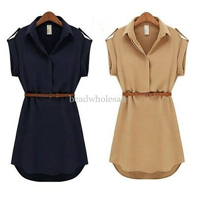 New Women's Cap Sleeve Stretch Chiffon Casual OL Shirt Mini Dress With Belt