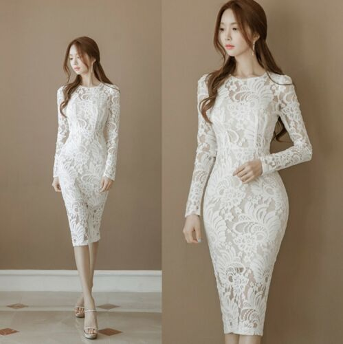 Womens Party Bodycon Dress Cocktail Wedding Long Sleeve Lace Hollow Slim Dresses