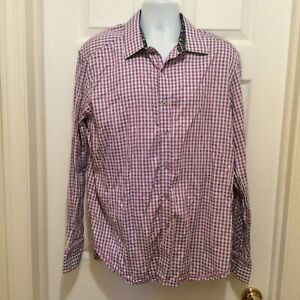 Robert-Graham-Men-039-s-Shirt-2XL-Purple-Blue-White-Plaid-Floral-Contrast-Flip-Cuff