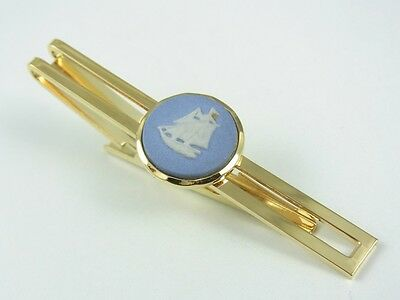 Vintage Stratton Tm gold plated racing horse lucky horse shoe  Bar tie slide wedding clip