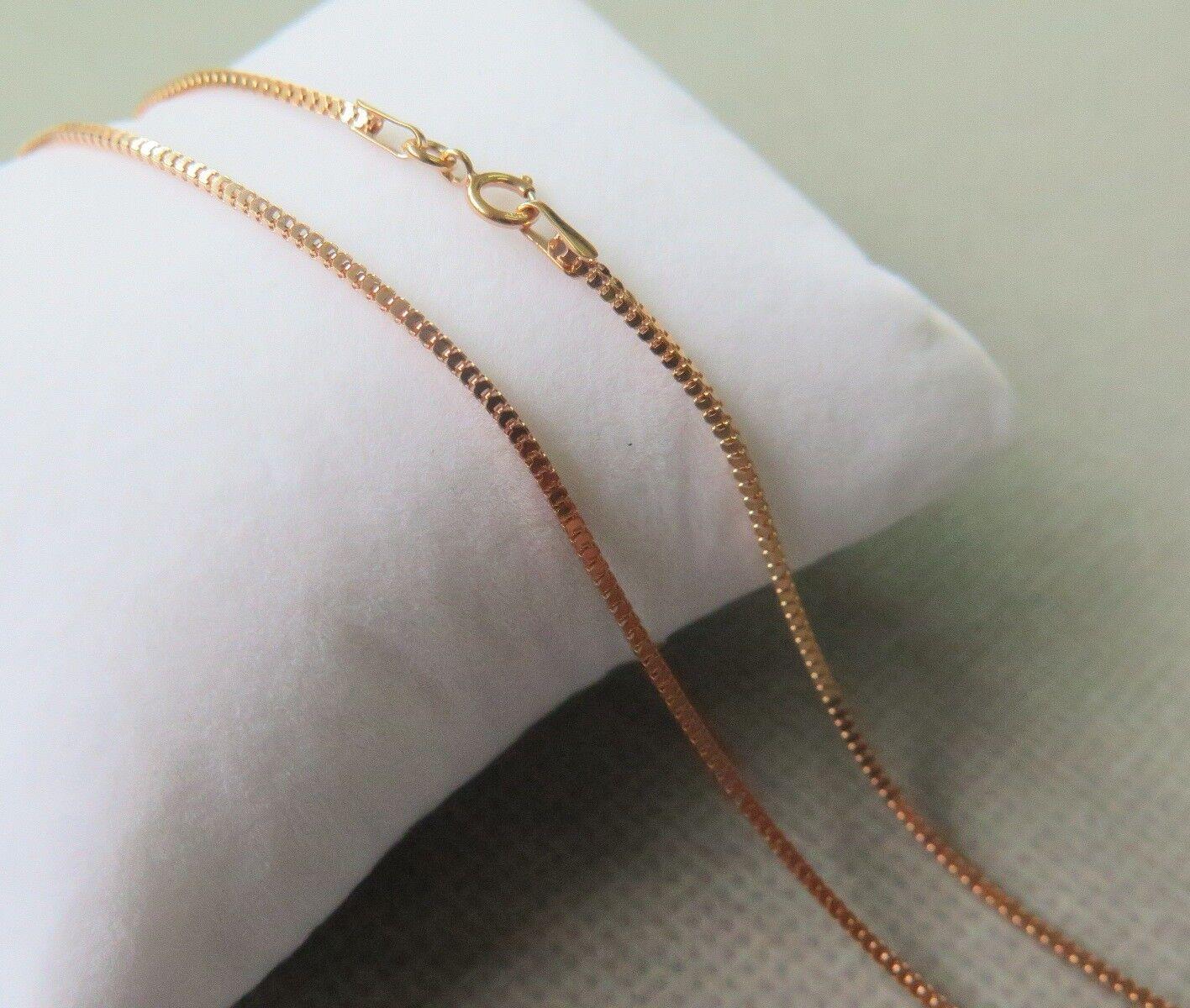 Puro 18kt oro rosa Collana 1.15mm Milan Anello Quadrato Quadrato Quadrato Catenina 45cm Au750 6f76df