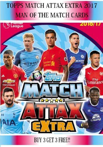 Topps Match Attax EXTRA 16 17 2016 2017 elige tu hombre del partido de tarjetas
