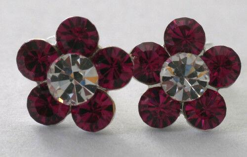 """925 Sterling Silver Deep Pink /& Clear Crystal Flower Cluster Stud Earrings 3//8/"""""""