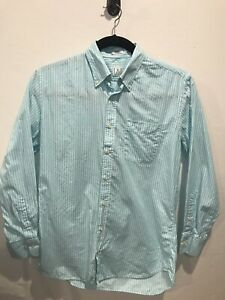 Peter-Millar-Blue-Striped-Button-Front-Shirt-Men-039-s-Medium-100-Cotton