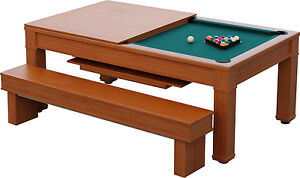 Budget Pool Table Dinning Table With Bench Seats And Cue Storage - Budget pool table