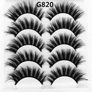 SKONHED-5-Pairs-3D-Mink-Hair-False-Eyelashes-Wispy-Cross-Long-Lashes-Natural-US