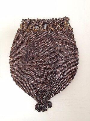 Antico Vittoriano Bronzo Micro Perline Marsupio/borsa A Mano Con Coulisse Reticolo-mostra Il Titolo Originale Prestazioni Affidabili