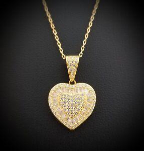 Women-14k-Yellow-Gold-Finish-Round-Diamond-Heart-Pendant-Necklace