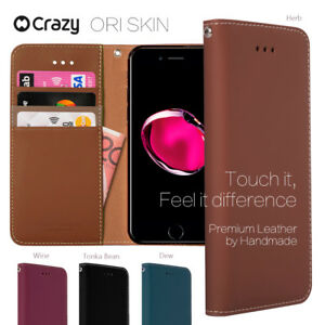 iPhone-7-8-Plus-5-6-Genuine-Leather-Wallet-Case-Crazy-Flip-Cover-for-Apple