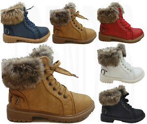 WOMENS-WINTER-ANKLE-BOOTS-LADIES-ARMY-COMBAT-FLAT-GRIP-SOLE-FUR-LINED-SHOES-SIZE