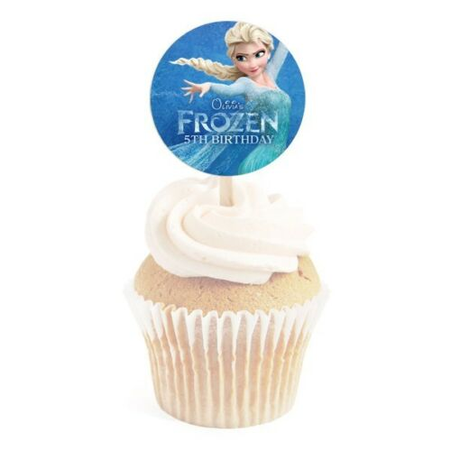 12 Frozen Movie Birthday Personalized 2 inch Round Cupcake Toppers