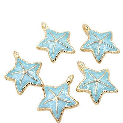 5pcs Hot Sale Blue Enamel Gold Plated Sea Star Alloy Pendants Charms Findings C