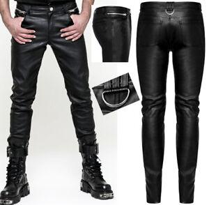 f8b54aba1a7 Pantalon cuir slim gothique punk dandy fashion zips anneau métal ...