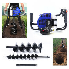 52cc Gas Powered Earth Auger Post Hole Digger Borer Fence Ground 2 Drill Bits
