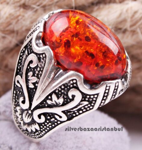 Turkish  925 Sterling Silver special orange amber stone Men man ring ALL SİZE us