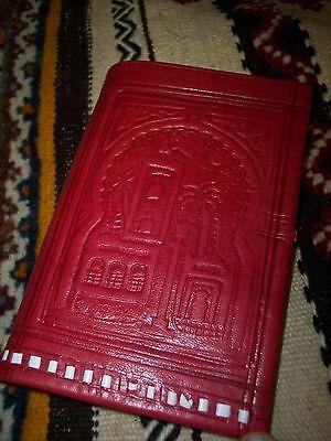 Moroccan Camel Leather Wallet Purse Pocket Sized Handbag Wallet Marrakech Navy