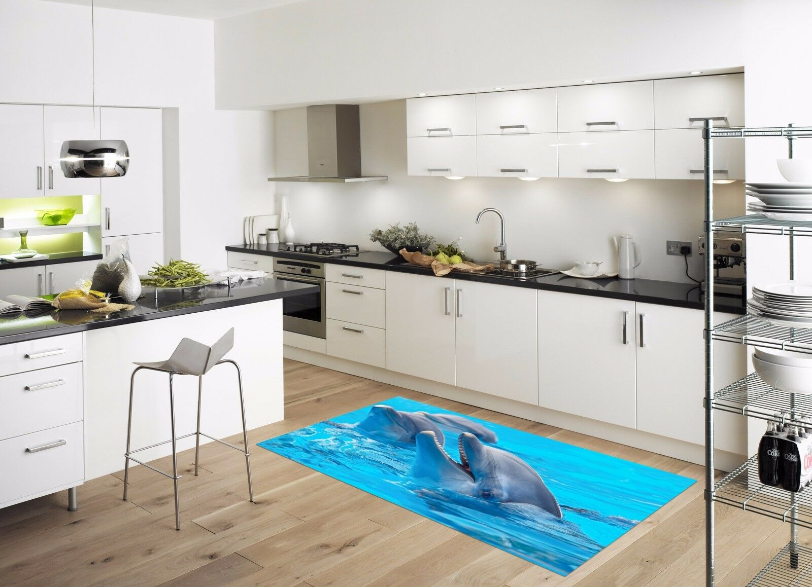 3D Sea Dolphins 88 Kitchen Mat Floor Murals Wall Print Wall Deco UK Carly