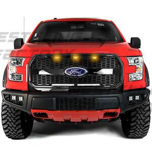 Raptor-Gloss-Black-Mesh-Grille-w-Emblem-Housing-Amber-LED-for-15-17-Ford-F150