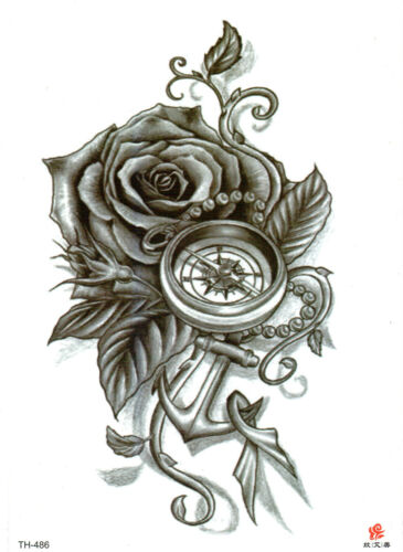 Rose Compass Anchor Large Temporary Tattoo