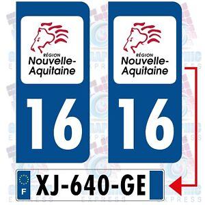 2 STICKERS AUTOCOLLANT PLAQUE IMMATRICULATION DEPARTEMENT 64 REGION AQUITAINE