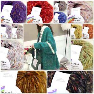 Sale-New-1BallsX50g-Fluffy-Soft-Colorful-Velvet-Shawls-Hand-Knit-Crochet-Yarn
