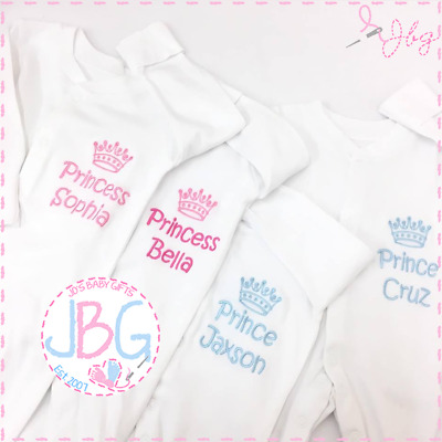 PERSONALISED boys baby clothing PRINCE CROWN sleepsuit /& hat baby shower gift