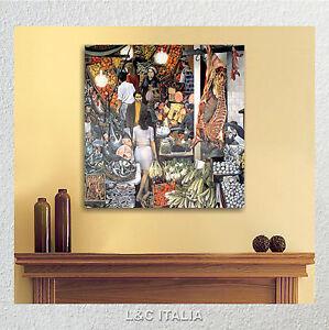 Vucciria Guttuso Quadro Su Tela Canvas 50 X 50 Per Cucina Soggiorno Salotto Ebay