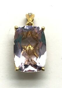 Sterling-Silver-Gold-Tone-Rectangle-Translucent-Purple-Amethyst-CZ-Bail-Pendant