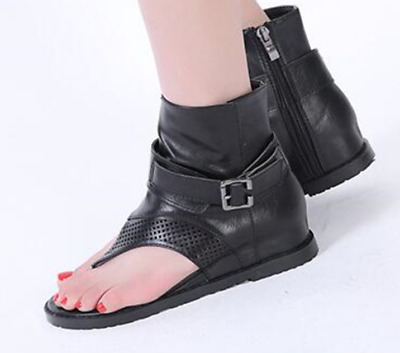 newest 18966 4266c Womens Black Sandals Flip Flops thong Roma Summer Gladiator Ankle Boots  Shoes | eBay